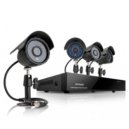 Zmodo 4CH Video Camera System w/ 4 600TVL Outdoor Day Night