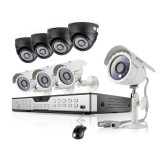 Zmodo 16CH Home Security System & 4 Dome 4 Bullet 600TVL Cameras