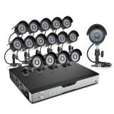 Zmodo 16CH Video Surveillance System & 16 Sony CCD 600TVL IR Cameras