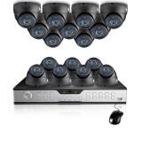 Zmodo 16CH Video Surveillance System & 16 Sony CCD 600TVL Dome Camera