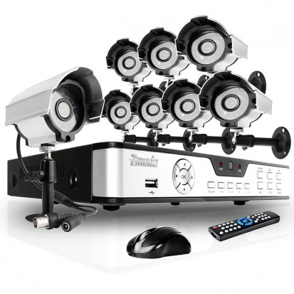 8 Channel CIF Real-Time DVR & 8 Sony CCD Camera Security Surveillance System-No HD